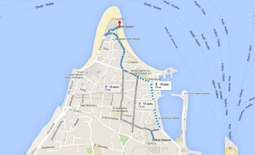 Пляж Элли на карте (Родос)