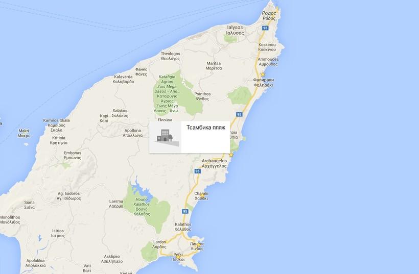 Пляжи восточного побережья на карте (Родос)
