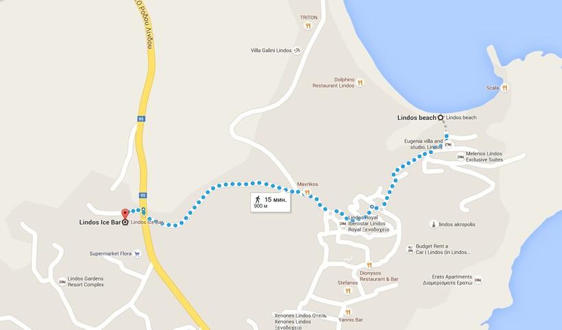 Пляжи Линдоса на карте