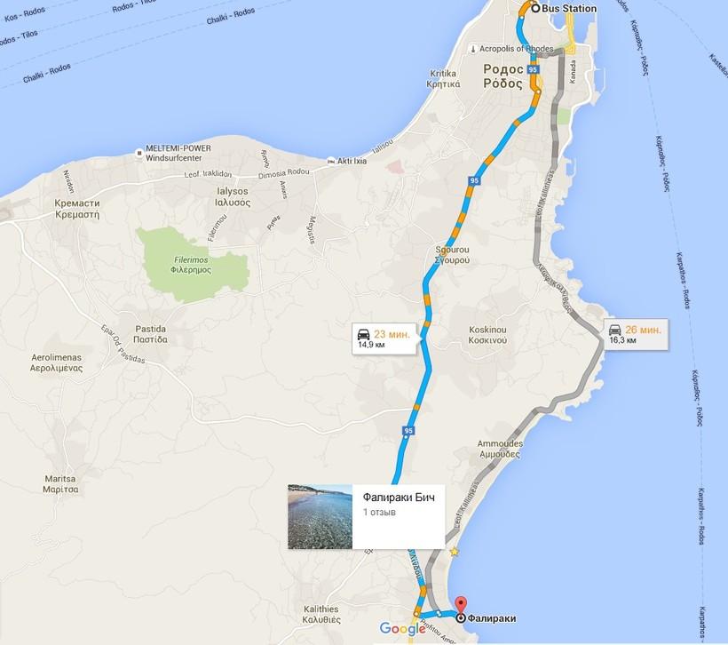 Пляжи Фалираки на карте