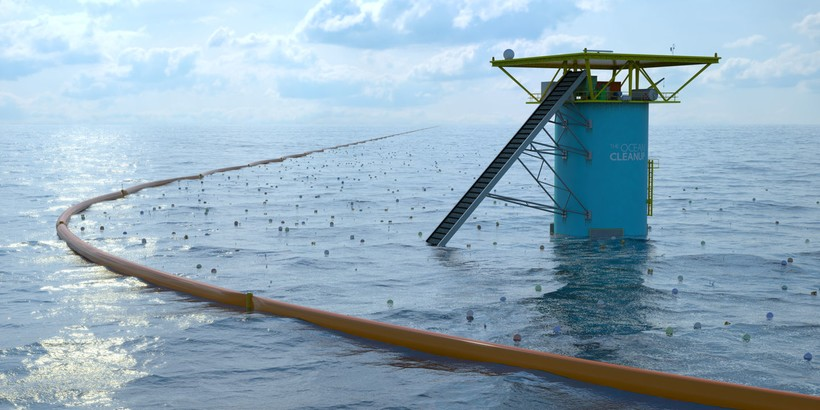 На фото: конструкция Бояна Слата по очистке Мирового океана от мусора