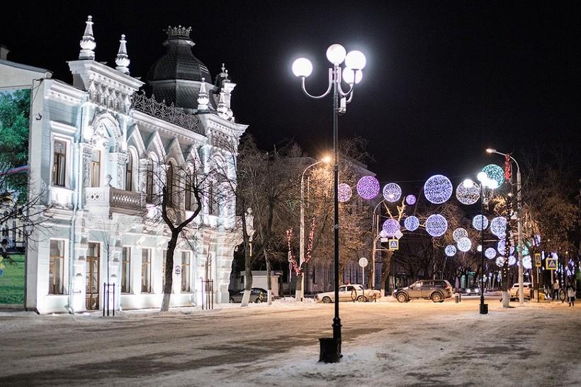 Ночной Краснодар в январе