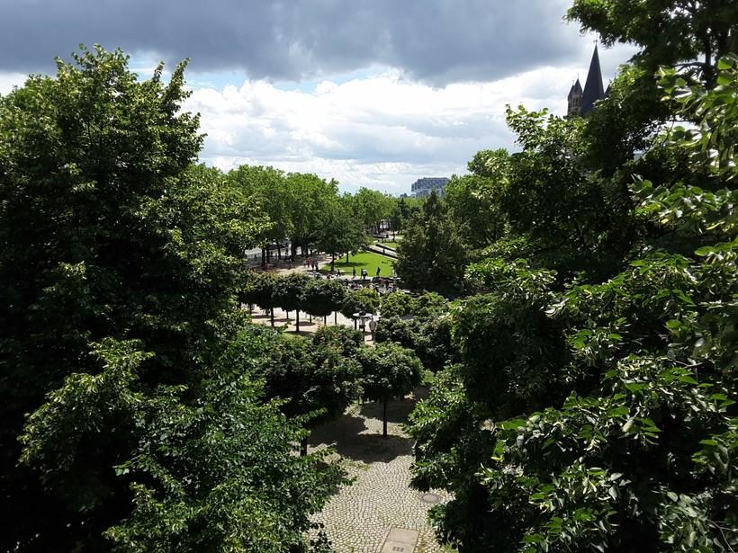 Сад площадью Heinrich и берегами Рейна