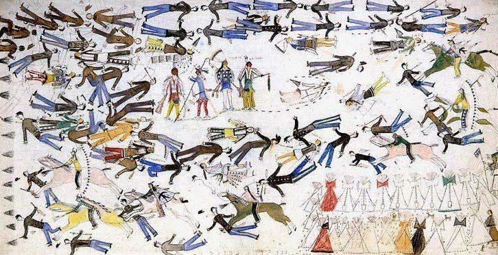 Индейское изображение битвы