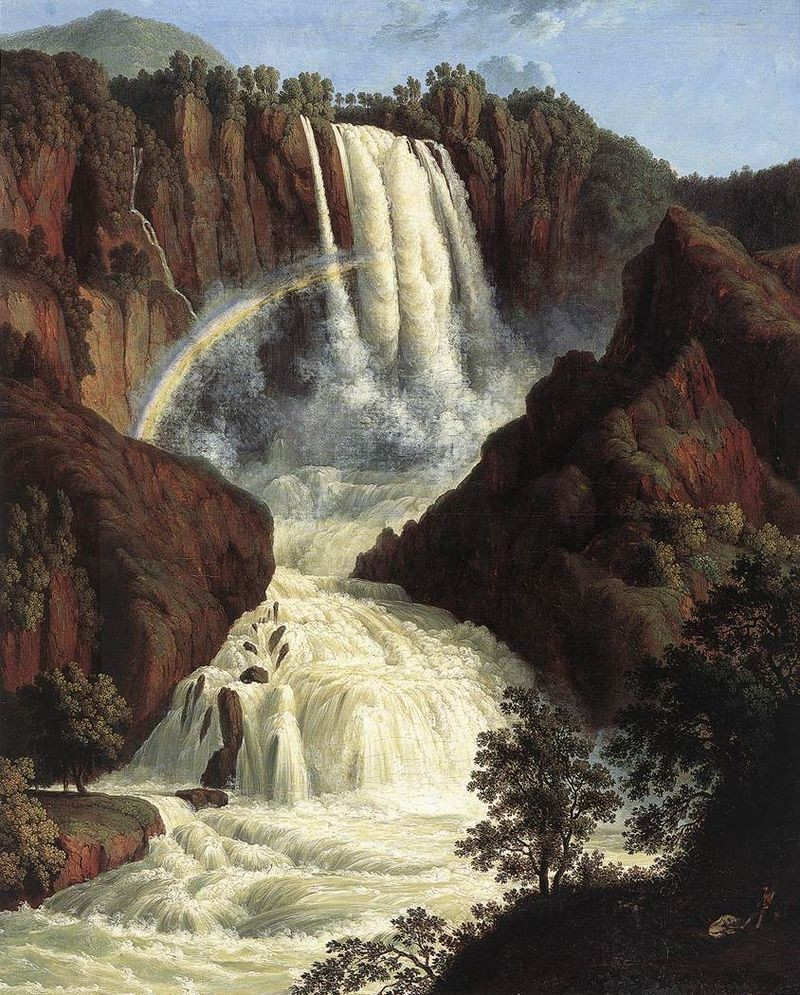Водопад на картине немецкого художника Якоба Филиппа Хаккерта