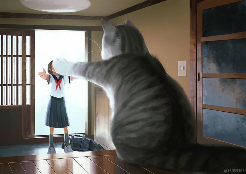 Японский художник показывает мир, в котором люди живут рядом с гигантскими животными