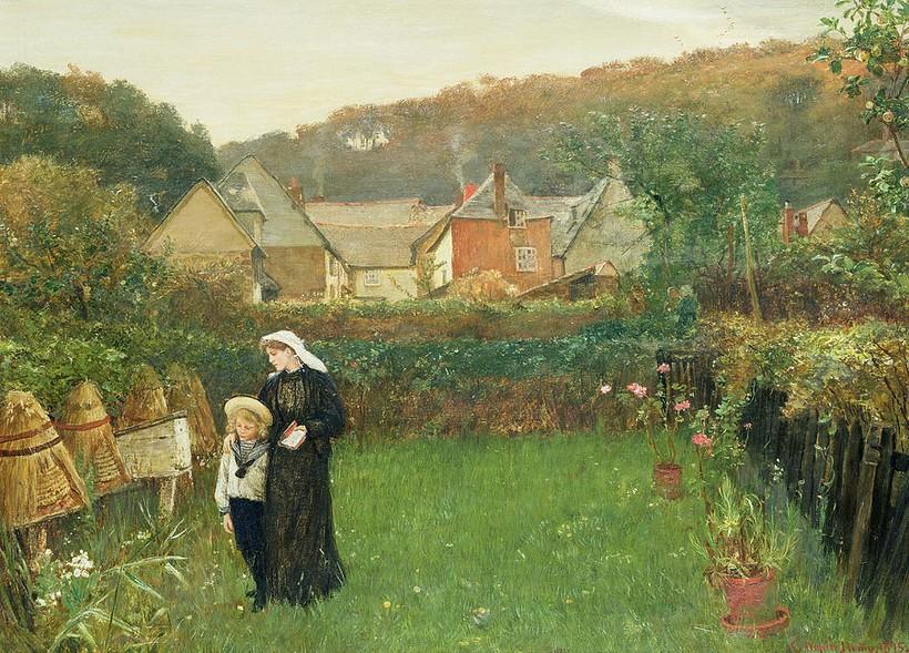 Вдова и ее сын рассказывают пчелам о несчастье. Художник Чарльз Нейпир Хеми (1841-1917)