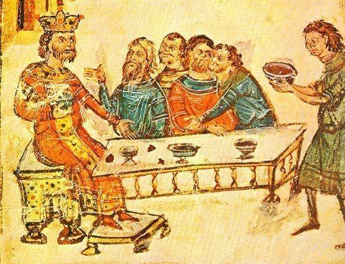 Хану Круму подносят чашу, изготовленную из черепа императора Византии