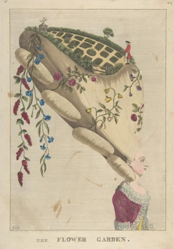 Карикатура на прическу, изображающую цветочный сад