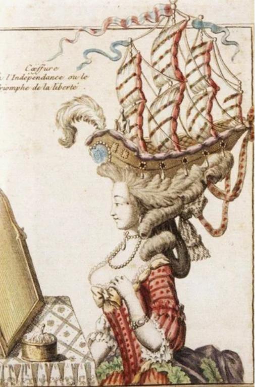 Карикатура на прическу 1770-х годов