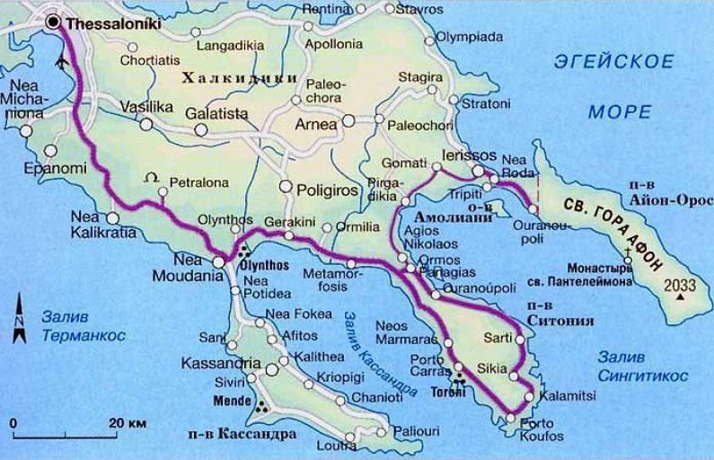 Полуостров и гора Афон на карте Греции