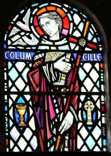 Святой Колумба на витраже в Обане