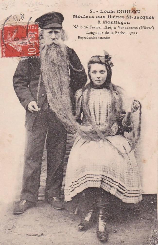 Луи Кулон — человек с 3-метровой бородой, в которой жила кошка