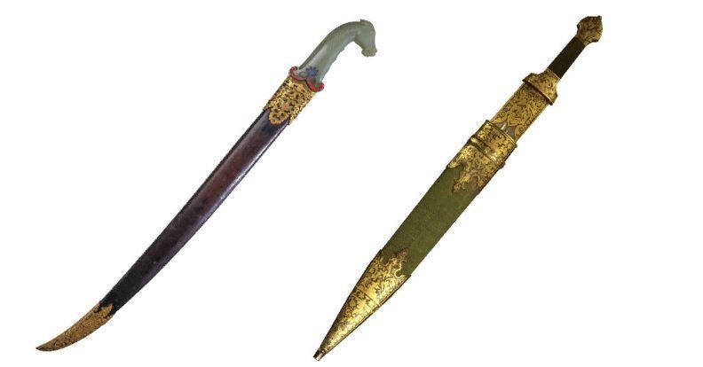 Слева китайский кинжал эпохи Цин, справа русский кинжал 19 века