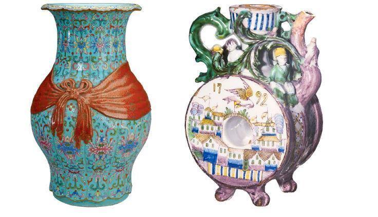 Слева китайская ваза баофу, справа русский гжельский кувшин 18 века
