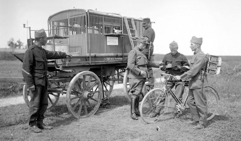 Передвижная голубиная станция во время Первой мировой войны
