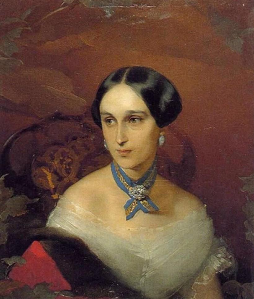«Портрет Н. Н. Пушкиной-Ланской», около1849 года. Приписывается художнику Ивану Макарову, ранее приписывался Тимофею Неффу
