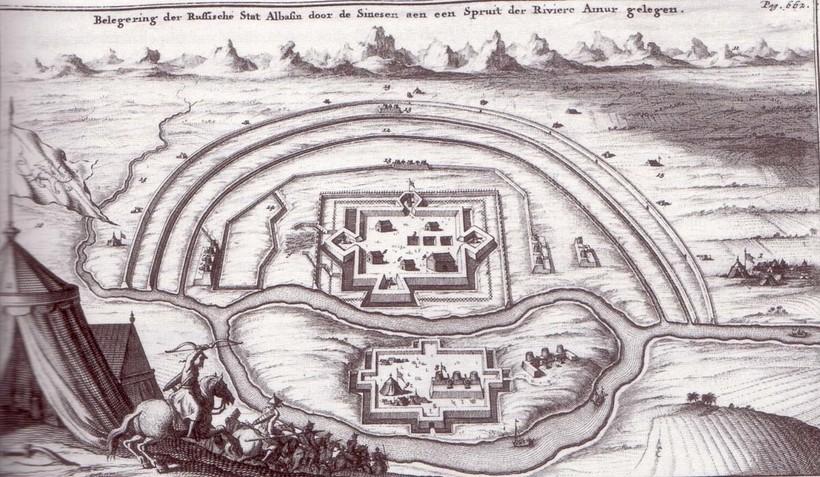Гравюра с изображением осады Албазина из книги Николааса Витсена, 1692 год