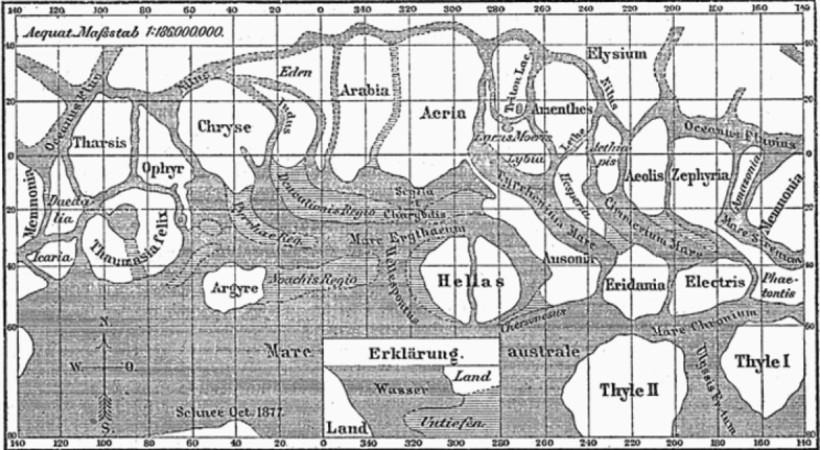 Карта Марса Джованни Скиапарелли: ровные линии вверху — это каналы, которые признали оптической иллюзией