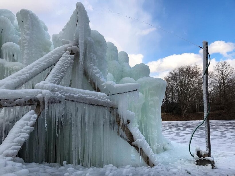 Как груда хлама становится шедевром: семья каждый январь создает дерево изо льда