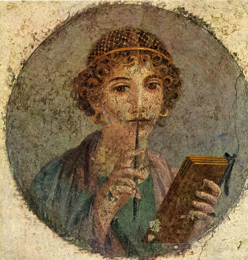 Сапфо на фреске из Помпей
