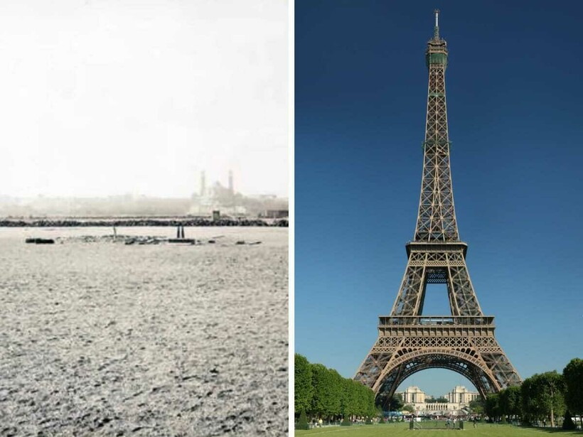 Как выглядели места до и после постройки на них известных сооружений: 9 фотосравнений