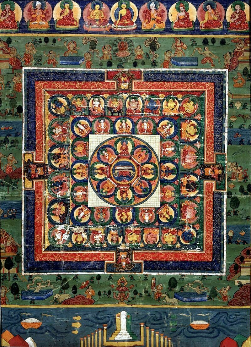 Мандала XIX века, в центре — богиня Праджняпарамита, а вокруг нее ― Будды Медицины. Бутан