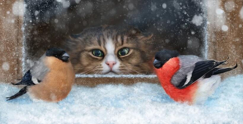Кот — естественный враг снегирей