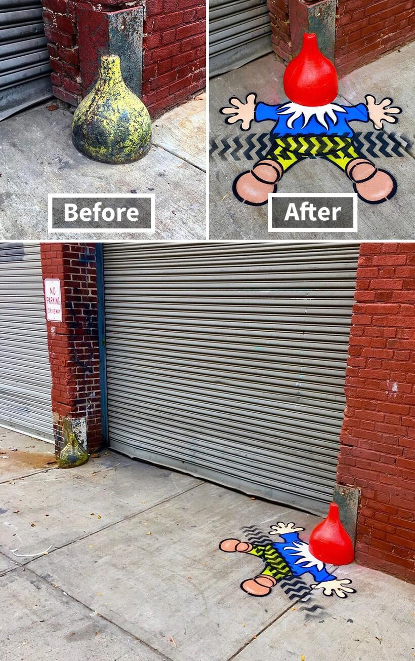 19 гениальных граффити, которые превращают унылые детали улиц в веселых героев
