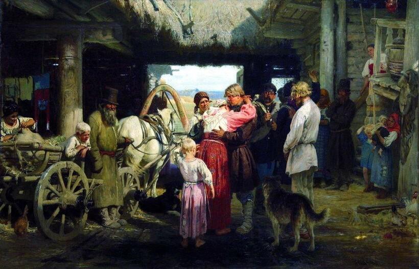 «Проводы новобранца», 1879 г. И. Е. Репин