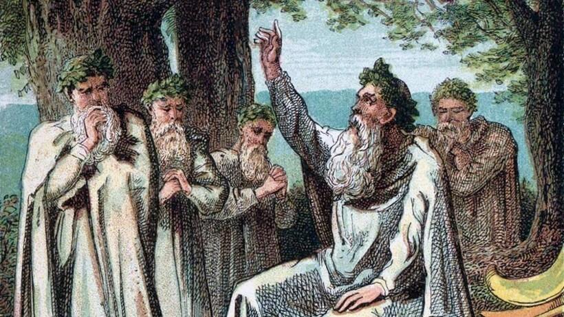 «Жрецы-друиды Древней Британии в созерцательном настроении в лесу» (фрагмент). Джозеф Кронхейм