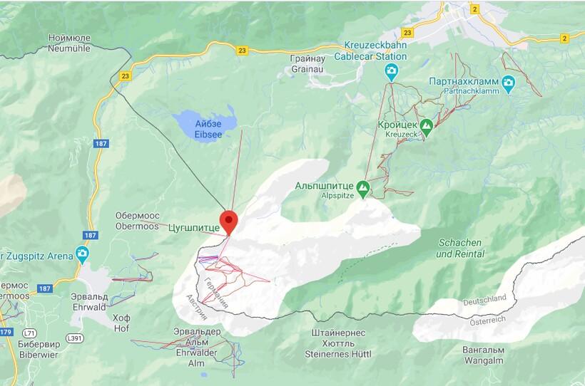 Гора Цугшпитце на карте