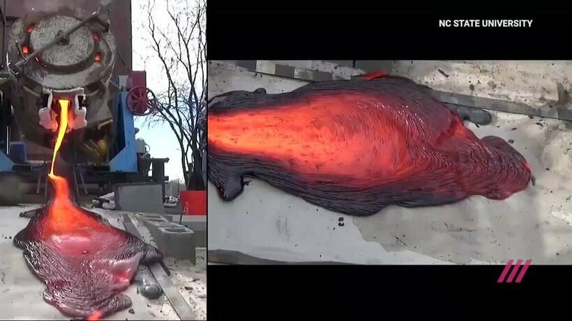 А также металлическая лава занимает большую площадь