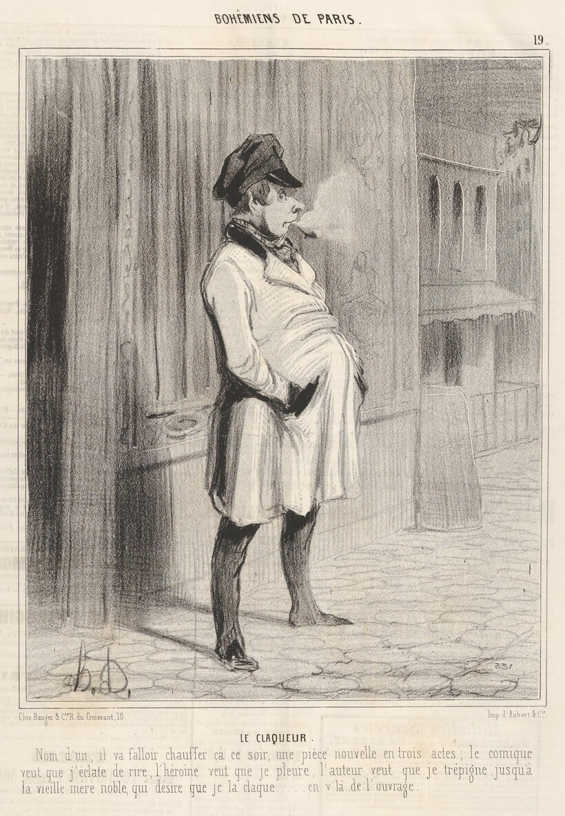 «Клакёр», 1842 г. Оноре Домье