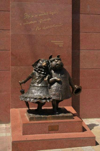 """Скульптура """"Гуляющие собачки"""""""