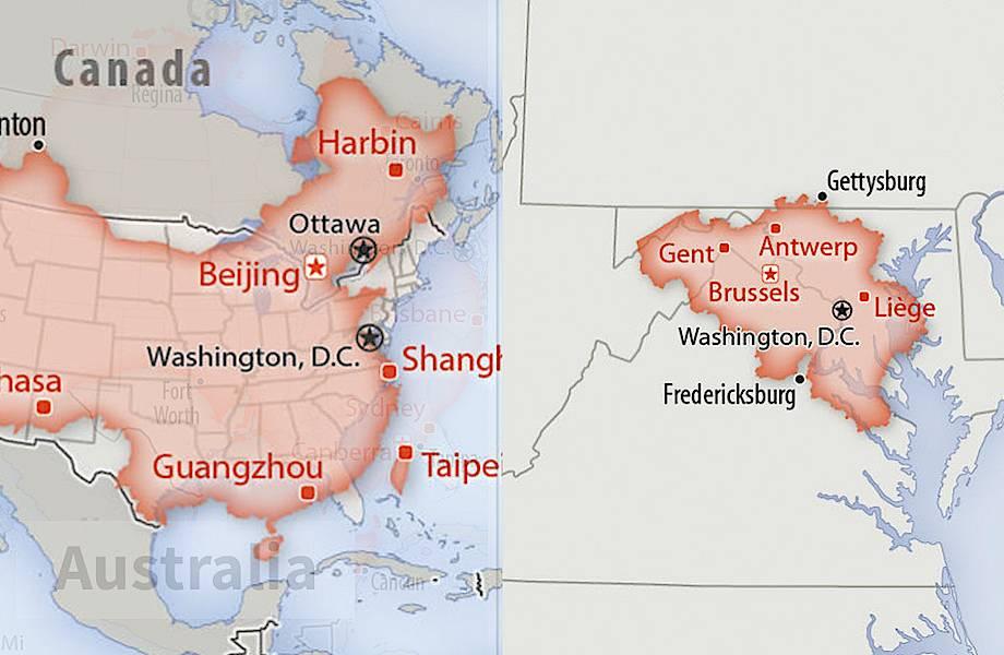 Как выглядят на фоне территории США другие государства: 30 интересных карт