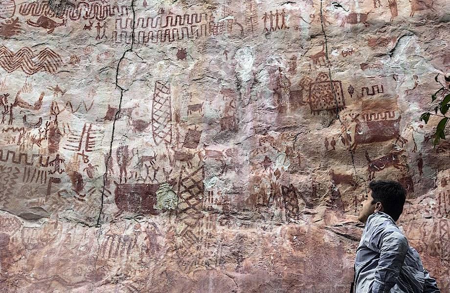 В амазонских лесах нашли 12-километровую скалу, исписанную наскальной живописью